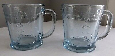 2 Fire King Sapphire Blue Glass Philbe Thick D Handle Coffee Mugs Cups
