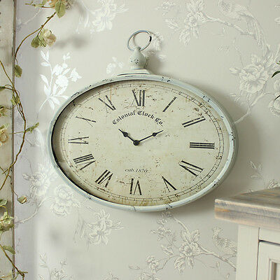 Cream painted metal pocket watch style wall clock shabby french chic home gift