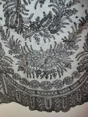 """Antique Black Chantilly Lace Trim 17"""" by 40"""" Nice Condition Floral"""