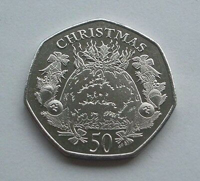 2016 ISLE OF MAN CHRISTMAS PUDDING 50p COIN AA & AB DIE MARKS *FREE P&P IoM MANX