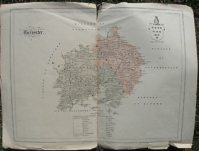 """c1860 Rare Antique Map - """"The Archdeaconry of Worcester and Coventry"""", England"""