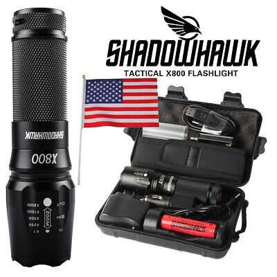 100% 8000lm Genuine Shadowhawk X800 Tactical Flashlight LED Military Torch G700