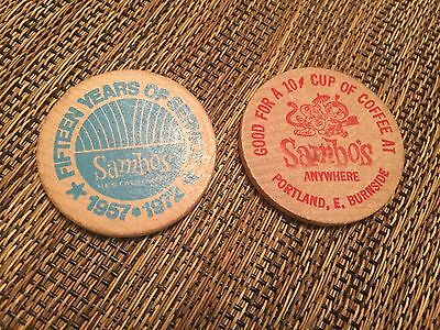 RARE Sambo's Food Wooden Tokens (2) 15 Years 1957-1972 NEW