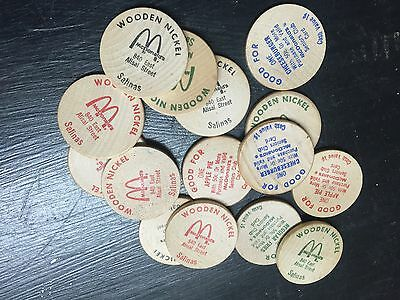 RARE McDonald's Food Wooden Tokens (15) Salinas California NEW