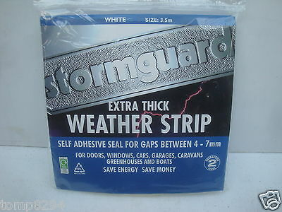 Stormguard 3.5 Metres Extra Thick Weather Strip Self Adhesive Draught Seal White