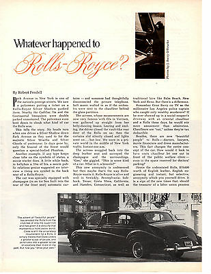 1969 Rolls-Royce - Whatever Happened?  ~  Great 3-Page Article / Ad