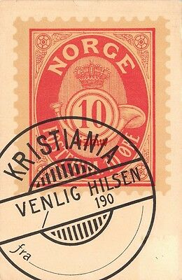Norway Norge Large Red 10 Ore Stamp & Kristiania Postmark Early Stamp Card