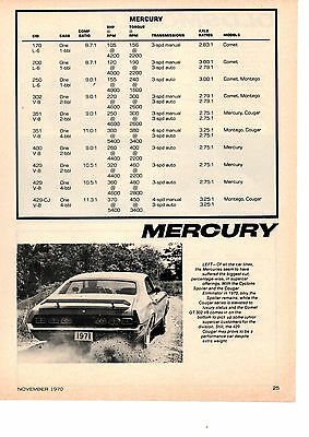 1971 Mercury Engine Specifications  ~  Original Single-Page Article / Ad