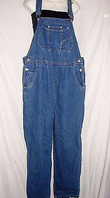 "IN DUE TIME MATERNITY Womens Sz L Large Bib Denim Overalls Jeans 42"" X 30"" ins."