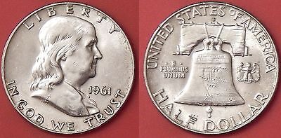 Almost Uncirculated 1961D US Franklin Silver 50 Cents