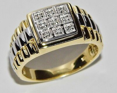 MEN'S 9 CT YELLOW GOLD ON SILVER 0.10ct ROLEX RING - SIZE X