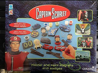 CAPTAIN SCARLET PLASTER AND PAINT MAGNETS AND BADGES SET Gerry Anderson