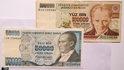 Turkey 2 Different Banknotes!! Combine Shipping!!