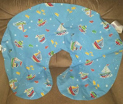 BOPPY Sailboats Fish Blue COVER ONLY for Breastfeeding Nursing Support Pillow