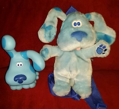 Blues Clues BLUE Small 10in Blue Plush Backpack & 8in Rubber Bank 1998 Stopper