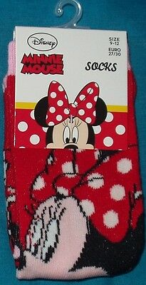 BNWT Disney Minnie Mouse 2x pairs of girls socks UK size 9-12 Red