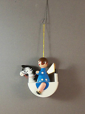 Vintage Wooden Christmas Ornaments - Girl on Horse