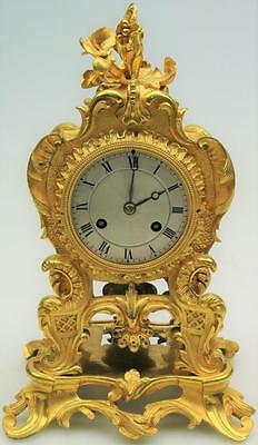 Stunning Antique 19thc French Rococo Sweet Size 8 Day Bronze Ormolu Mantel Clock