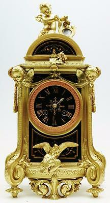 Rare Antique 19thc French Gilt Metal & Black Engraved Marble 8 Day Mantel Clock
