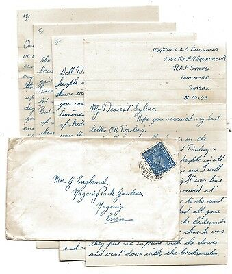 WW2 Cover - Love Letter RAF Fighter Command Tangmere Sussex 1943 to Nazeing