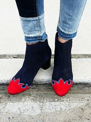 NEW Free People Adele Flame Ankle Boots Navy & Red Suede