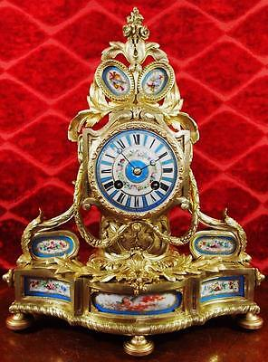 Beautiful antique 19th c French solid gilt brass & Sevres porcelain Mantle Clock