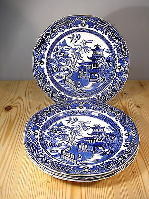 "Burleigh Ware ""Willow"" Four Blue & White Willow Plates"