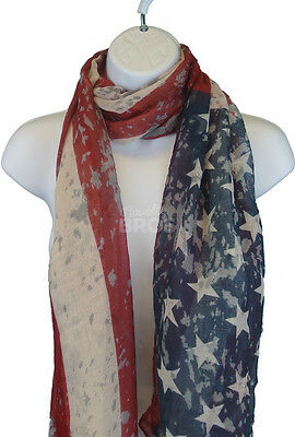 Vintage USA Flag Scarf - Long Patriotic American Themed Wrap Scarves