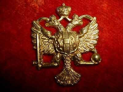 The Queen's Dragoon Guards Brass Metal Collar Badge