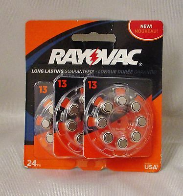 New Rayovac Type 13 Hearing Aid Batteries 24-Pack Exp 2019/2020 Free Shipping