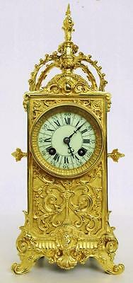 Stunning Antique 19thc French 8 Day Pierced Cast Bronze Tower Mantel Clock