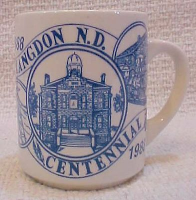 1988 Langdon ND Centennial white w blue pottery coffee cup vintage mug FREE S/H