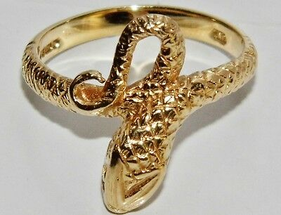 Vintage 9ct Yellow Gold Serpent / Snake Ring - size L