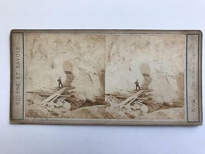 Early Stereoview 1860s Ice Grotto Grindelwald Switzerland