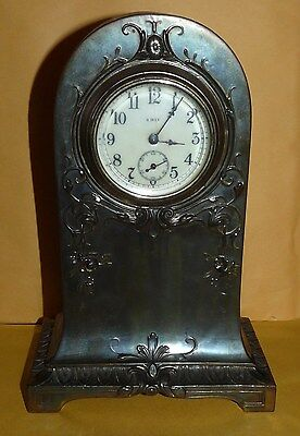 ~Vtg~Antique~Art Nouveau~Brass~Ornate~Tombstone~Shape~8-Day~Footed~Mantel~Clock~