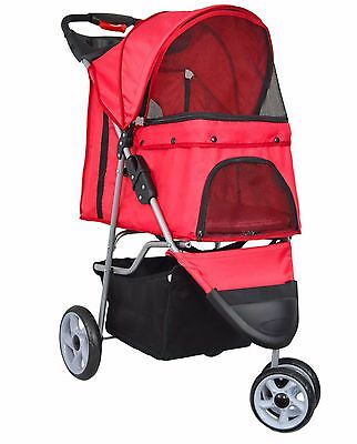 Red Pet Stroller Dog Cat Puppy Jogger Pushchair Travel Carrier Pram Buggy Wheels