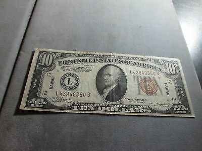 1934-A $10.00 Hawaii Note VG With Good Color