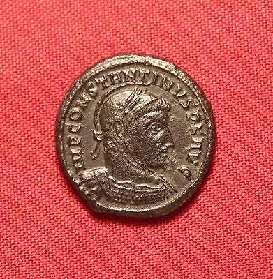 Ancient Roman Bronze Constantinus AE3 Coin, Helmeted!
