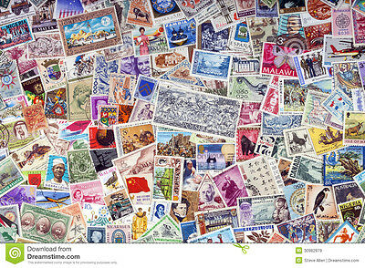 Collection of 250 WORLD STAMPS - All Different & Off Paper