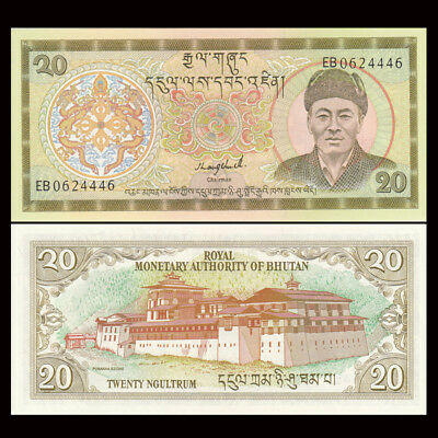 Bhutan 20 Ngultrum Paper Money,1992,P-16b,Uncirculated .1Pieces