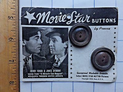 1948 Movie Star Buttons. Henry Fonda and James Stewart in A Miracle Can Happen.