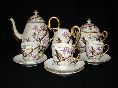 Antique Hand Painted Porcelain Partial TEA COFFEE Set Birds on the branch tree