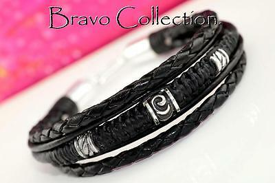 5B-087 Finely Made Sterling Silver, Leather New Wristband Bangle Men Bracelet.