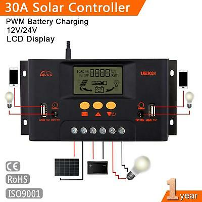 30A LCD Solar Panel Charge Controller Battery Regulator 12V/24V Auto Switch