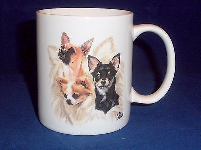 Beautiful 12 Oz Chihuahua Dogs Mug Features 3 Types w/History Signed * Keith USA