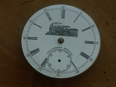 Rare Illinois Pocket Watch Train Dial W/ Train &trainsmen Special On Dial 16Size