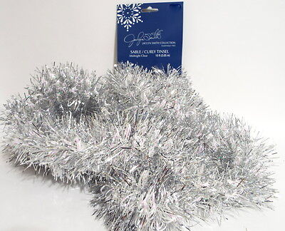 10 Ft Jaclyn Smith Sable Curly Tinsel Garland Iridescent Pink Silver