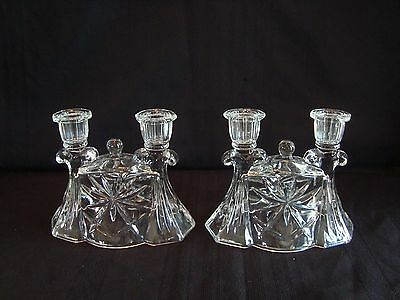 Set of 2 Early American Prescut EAPC Double Candlesticks Candle Holders #784
