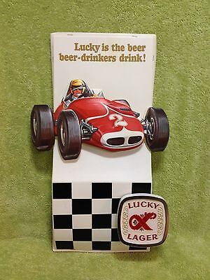 VINTAGE LUCKY LAGER BEER SIGN 3D Race Car Indy Dragster RaRe!