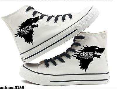 Game of Thrones High Canvas Shoes Casual Trainers House Stark Winter Is Coming